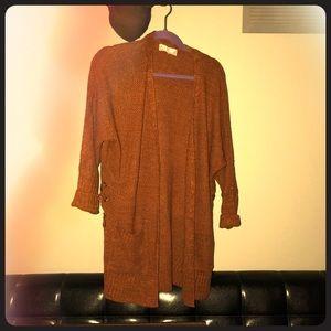 Burnt orange cardigan sweater with ties on side
